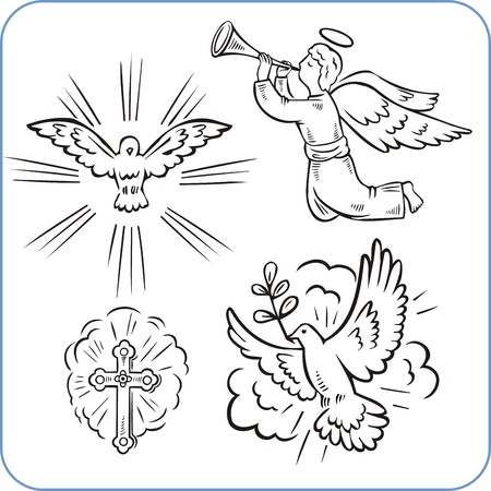 jesus praying: Angels and doves - vector illustration.