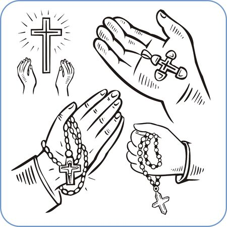 Hands and crosses, crucifixion - vector illustration. Vector