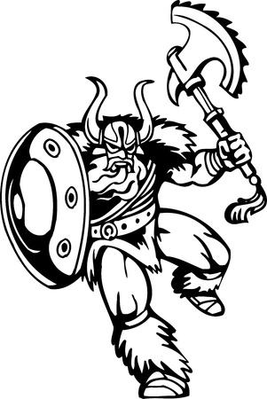 Nordic viking - black white illustration.  Vector