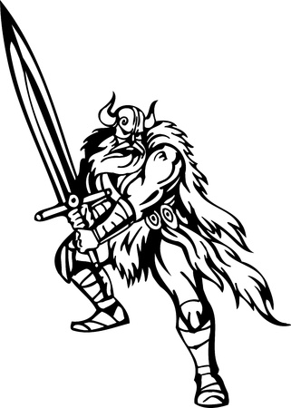 Nordic viking - black white illustration.  Vector