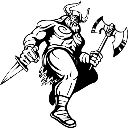 Nordic viking - black white illustration.  Illustration