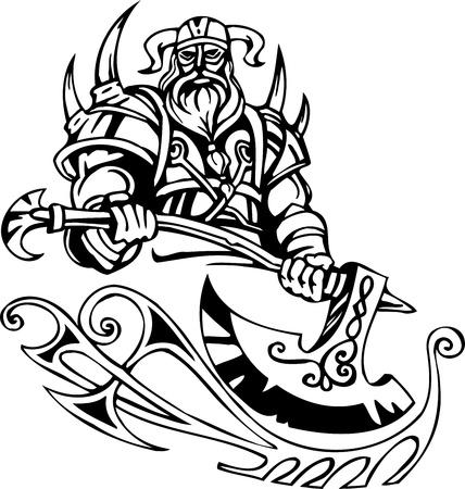 scandinavia: Nordic viking - black white illustration.  Illustration