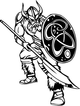 Nordic viking - black white illustration.