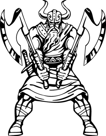 Nordic viking - black white illustration.  Vettoriali