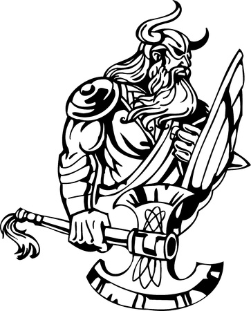 Nordic viking - black white illustration.  Illustration