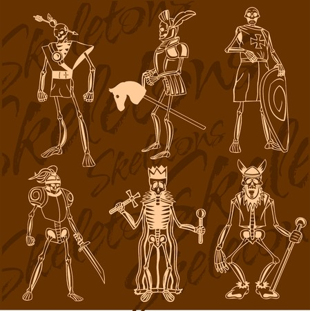 Skeletons - knight. Vector set. Vinyl-ready illustration. Vector