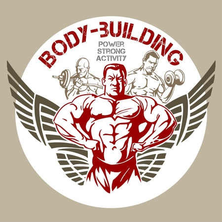 fitness training: GYM Bodybuilding - vettore emblema