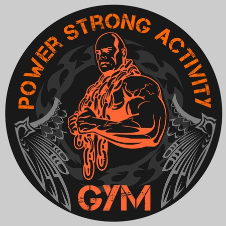 males: GYM Bodybuilding - vector emblem Illustration
