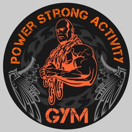 male bodybuilder: GYM Bodybuilding - vector emblem Illustration