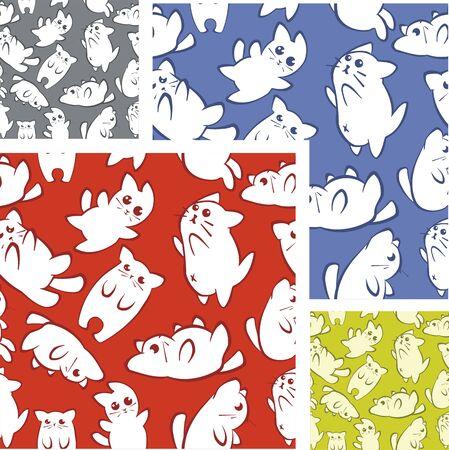 Cats and kittens - seamless pattern set.