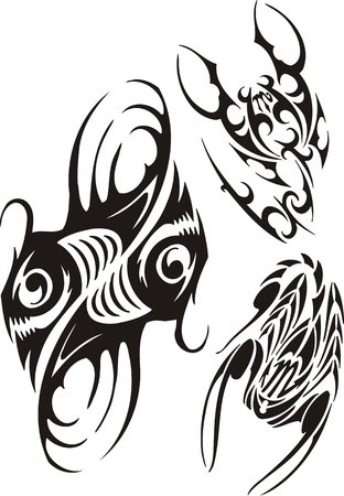 vinyl cutting: Zodiac Signs - fish and scorpion. Vector set.