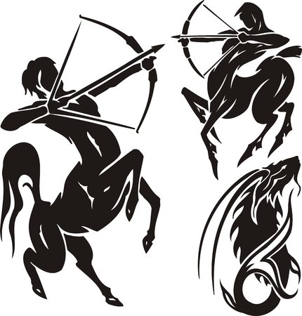 the centaur: Zodiac Signs - sagittarius. Vector set. Illustration