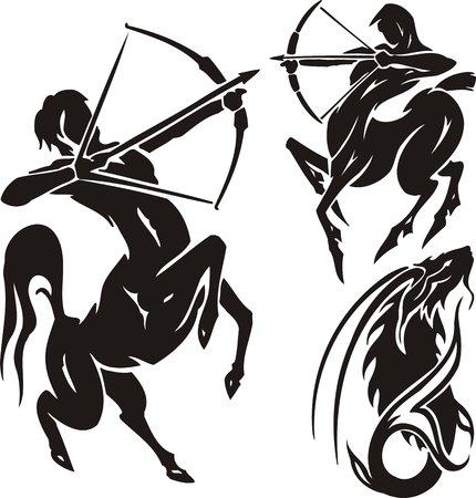 astrological: Zodiac Signs - sagittarius. Vector set. Illustration