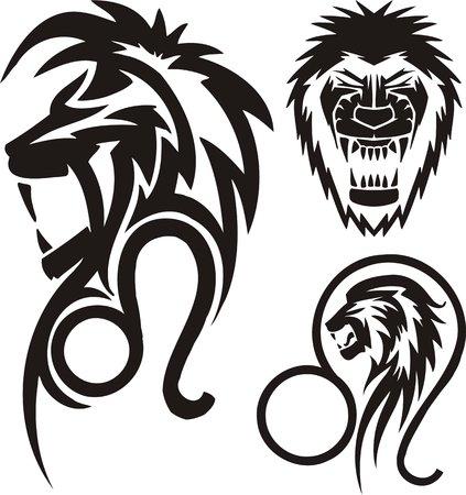 star tattoo design: Zodiac Signs - lion. Vinyl-ready vector set. Illustration