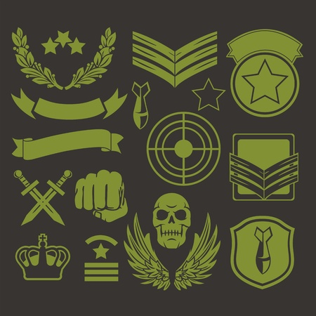 military uniform: Special unit military patches Illustration