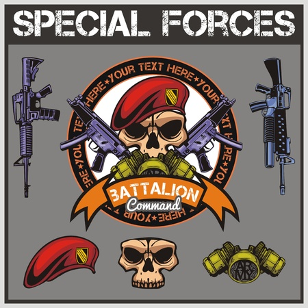 military beret: Special forces patch set  Illustration