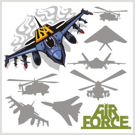 Air force - silhouettes planes and helicopters