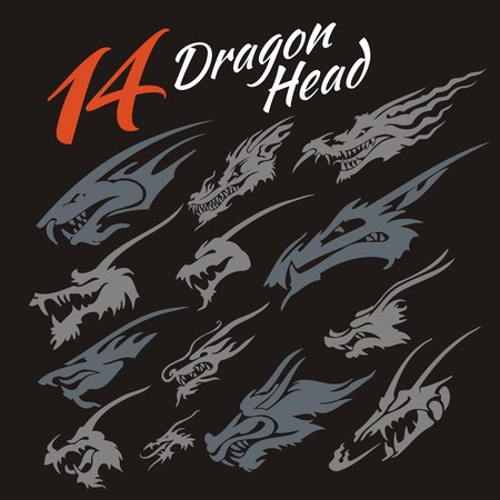 celtic symbol: 14 heads of the dragon. Vector set. Illustration
