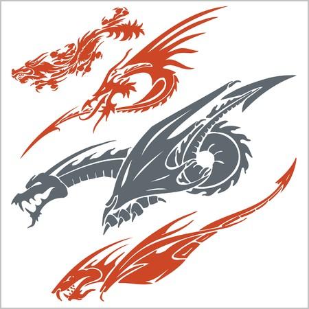 tribal dragon: Vector dragons for tattoo. Vinyl ready set.