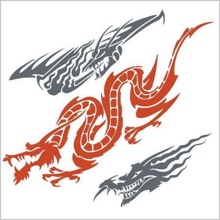 Vector dragons for tattoo. Vinyl ready set. Vector