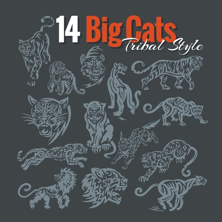 14 Big Cats in tribal style. Vinyl ready vector set. Vector
