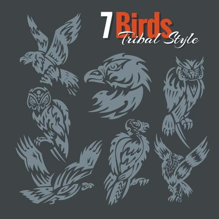 nocturnal animal: 7 Birds in tribal style Vinyl set. Illustration
