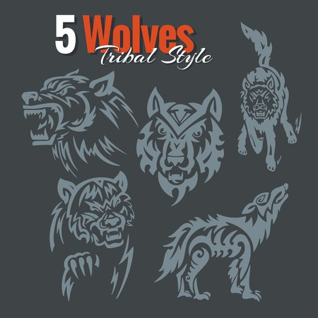 5 Wolves in tribal style set.