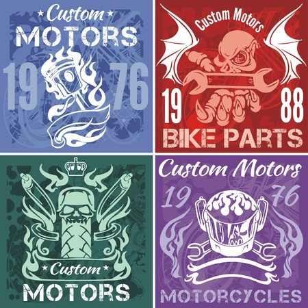 motor: Set of vintage motorcycle labels. Vector stock illustration.