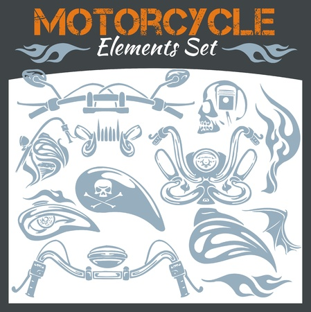 Motorcycle elements for emblem - vector set. Vector