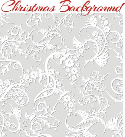 Winter Floral 3d Seamless Pattern Background. Illustration