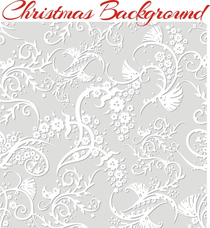 Winter Floral 3d Seamless Pattern Background. Ilustração
