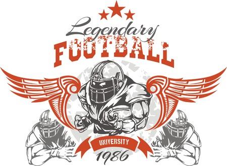 American football - Vintage vector print for boy sportswear 일러스트