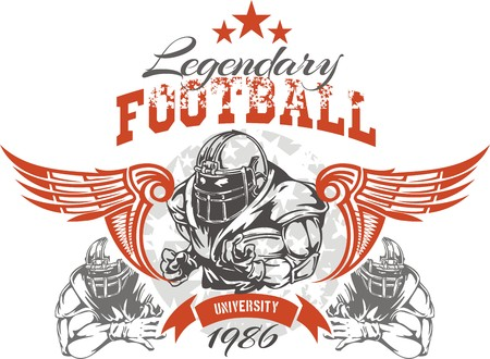 college football: American football - Vintage vector print for boy sportswear Illustration