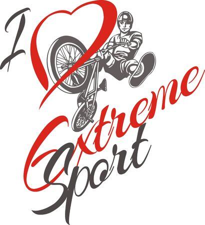 bike vector: Me encanta el deporte extremo. BMX salto en una bicicleta - ilustraci�n vectorial.