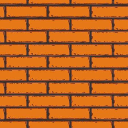 Seamless Patterns of Brick Walls. Orange Brick Wall. Vector Clip Art