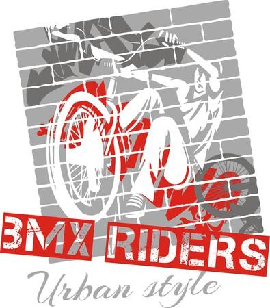 urban style: Mountain bike trial - urban style - vector illustration Illustration