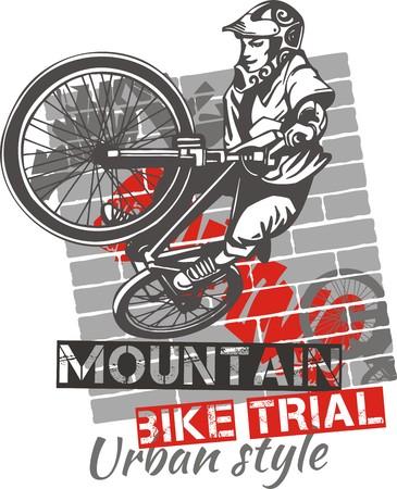freestyle: Mountain bike trial - urban style - vector illustration Illustration