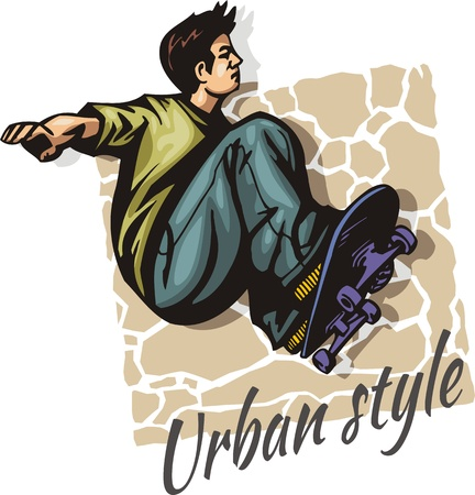 skateboard park: Jump on a skateboard -  vector color illustration