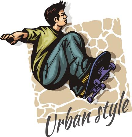 Sautez sur une planche à roulettes - couleur illustration vectorielle