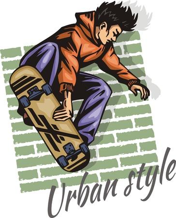 Boy Jump on a skateboard illustration