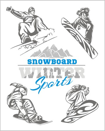 Snowboarder at jump in mountains. Vector set. Illustration