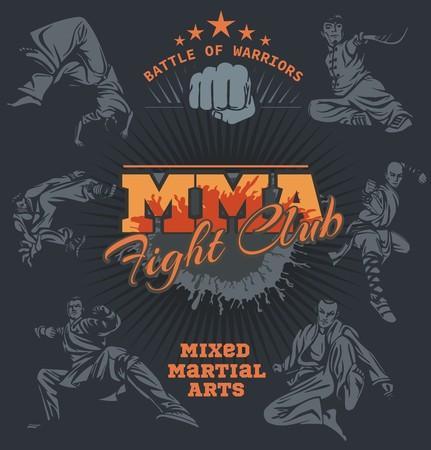 mixed: MMA Fight Club - Vector Labels  Mixed Martial Arts Design. Illustration