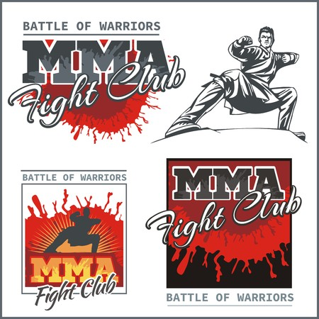 MMA Fight Clib - Vector Labels  Mixed Martial Arts Design. Illustration