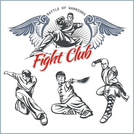 MMA Lucha Clib - Vector Etiquetas Artes Marciales Mixtas Diseño.