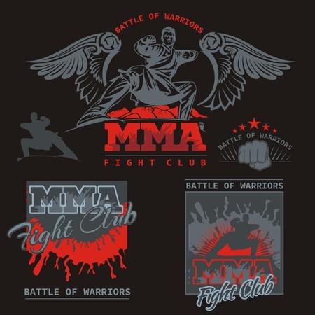 artes marciales mixtas: MMA Lucha Clib - Vector Etiquetas Artes Marciales Mixtas Dise�o. Vectores
