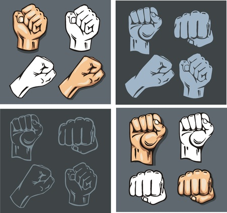wallop: Fists - vector set. Stock illustration.