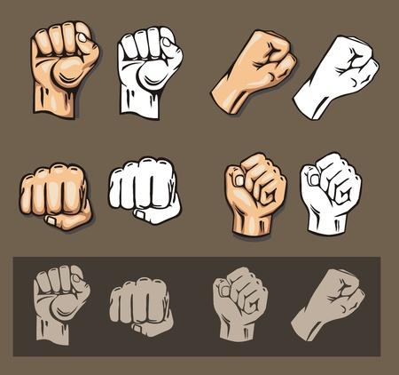 Fists - Vektor gesetzt. Stock illustration.