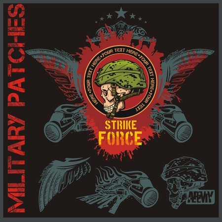 military beret: Special forces patch set - vector illustration Illustration