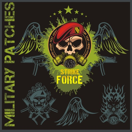 patches: Special forces patch set - vector illustration Illustration