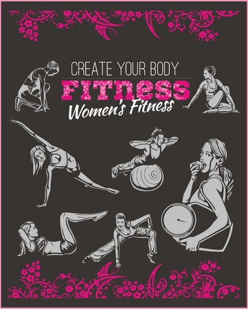 after: Womens GYM - Fitness club - vector illustration